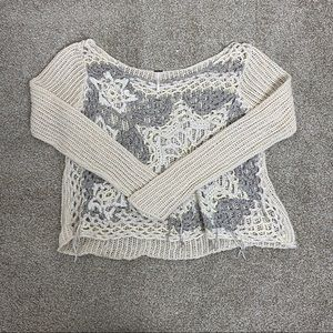 Free People Large Knitted Long Sleeve Sweater